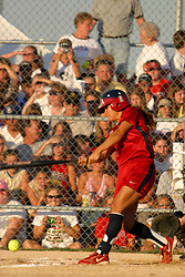 30 June 2004   USA's Lovieanne Jung makes contact. Bloomington Lady Hearts vs. USA Olympic Softball Team.  Champion Field #1.  Normal Illinois