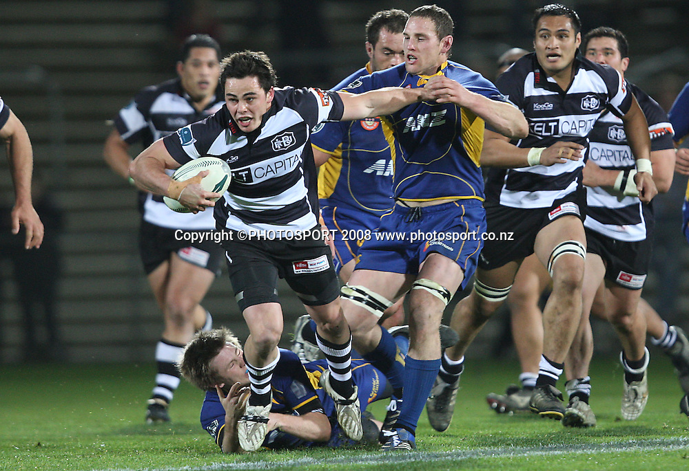 Zac Guildford attempts to break the tackle of Craig Newby.<br /> Air NZ Cup, Otago v Hawkes Bay, Carisbrook, Dunedin, Friday 29 August 2008. Photo: Rob Jefferies/PHOTOSPORT