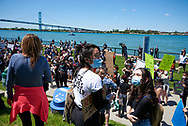"""March for Justice/Black Lives Matter"" protest during the COVID-19 pandemic in May 2020 in Windsor, Ontario."