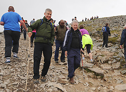 Papal Nuncio, Archbishop Charles Brown<br /> and Archbishop of Tuam Dr Michael Neary on Croagh Patrick yesterday for the the annual pilgrimage.<br />