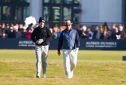 Tom Chaplin and Andy Garcia playing the first hole. Alfred Dunhill Links Championship this morning at Championship Course at Carnoustie.