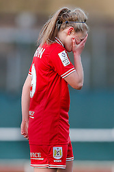 Millie Farrow of Bristol City Women looks frustrated - Mandatory byline: Rogan Thomson/JMP - 14/02/2016 - FOOTBALL - Stoke Gifford Stadium - Bristol, England - Bristol City Women v Queens Park Rangers Ladies - SSE Women's FA Cup Third Round Proper.