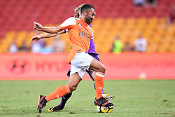 January 18, 2018 - Brisbane, QUEENSLAND, AUSTRALIA - Fahid Ben Khalfallah of the Roar (#14, orange) and Joseph Mills of the Glory (#16) compete for the ball during the round seventeen Hyundai A-League match between the Brisbane Roar and the Perth Glory at Suncorp Stadium on January 18, 2018 in Brisbane, Australia. (Credit Image: © Albert Perez via ZUMA Wire)