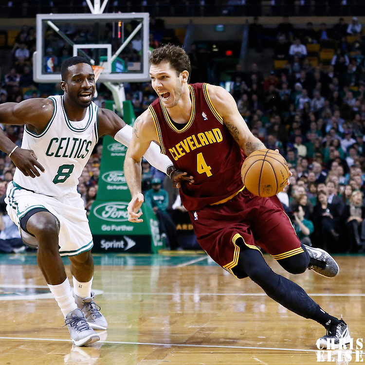 19 December 2012: Cleveland Cavaliers small forward Luke Walton (4) drives past Boston Celtics power forward Jeff Green (8) during the Boston Celtics 103-91 victory over the Cleveland Cavaliers at the TD Garden, Boston, Massachusetts, USA.