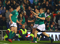 Rugby Union - 2017 Guinness Series (Autumn Internationals) - Ireland vs. Fiji<br /> <br /> Darren Sweetnam (Ireland) celebrates with team mates after scoring the first try, at the Aviva Stadium.<br /> <br /> COLORSPORT/KEN SUTTON