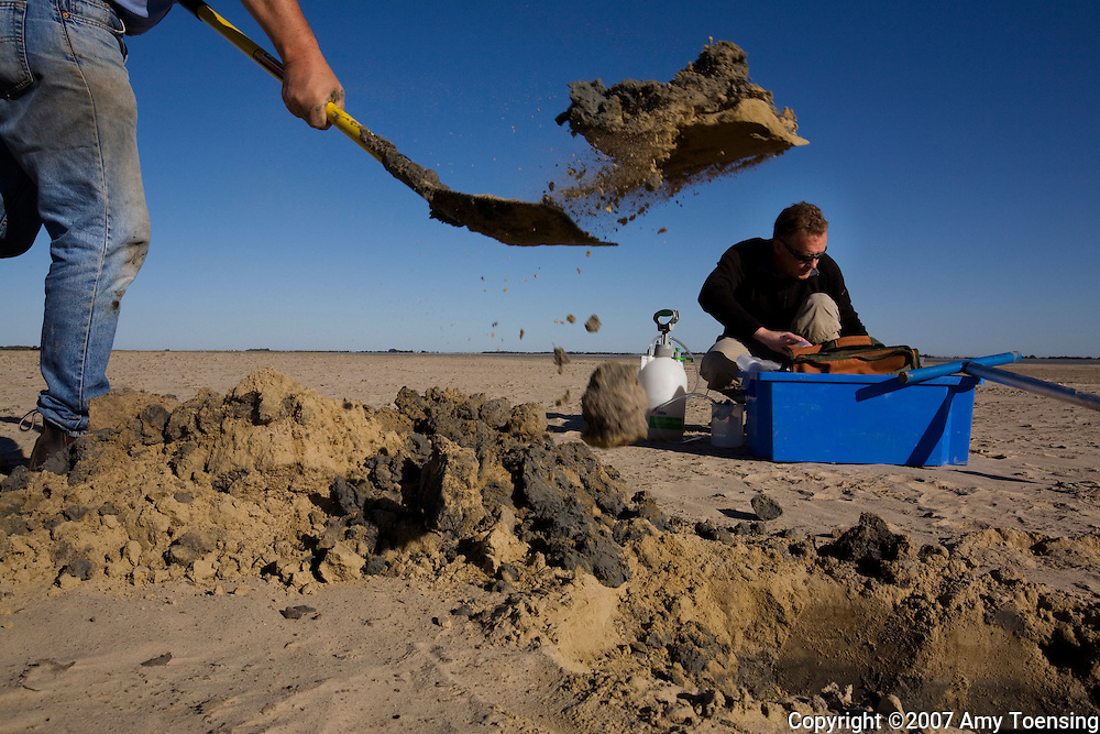 COORONG, SA, AUSTRALIA - MARCH 05: CSIRO Scientists, Paul Shand (right) and Richard Merry take soil samples on the dried up lake bed of Lake Albert March 5, 2008 in South Australia, Australia. The lake is part of the Lower Lakes of the Murray-Darling Basin where water levels have dropped at an alarming rate due to drought and over-use by irrigators for agricultural. As these bodies of water dry up, the bottom soil turns to sulfuric acid when highly concentrated, saline nutrients are exposed to oxygen. This is a widespread problem in the bottom end of the Murray-Darling Basin, where bodies of water that were made permanent by the irrigation system have dried up since the drought. The Murray-Darling Basin has been plagued with severe drought since the late 1990s and many growers and policy makers are being forced to find and implement more efficient irrigation systems. (Photo by Amy Toensing/ Reportage by Getty Images). _________________________________<br /> <br /> For stock or print inquires, please email us at studio@moyer-toensing.com.