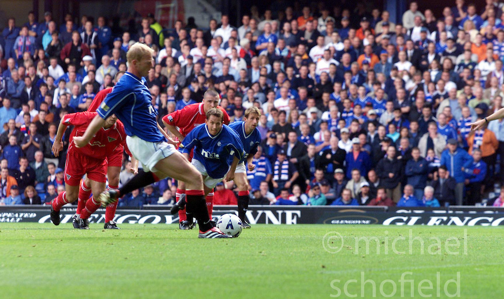 Jorge Albertz scoring their first goal, during a Rangers v Dunfermline game in August 2000..