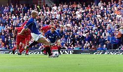 Jorge Albertz scoring their first goal, during a Rangers v Dunfermline game in August 2000..