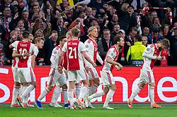 08-05-2019 NED: Semi Final Champions League AFC Ajax - Tottenham Hotspur, Amsterdam<br /> After a dramatic ending, Ajax has not been able to reach the final of the Champions League. In the final second Tottenham Hotspur scored 3-2 / Matthijs de Ligt #4 of Ajax scores the 1-0, celebrate Daley Blind #17 of Ajax, Kasper Dolberg #25 of Ajax, Frenkie de Jong #21 of Ajax, Hakim Ziyech #22 of Ajax, Matthijs de Ligt #4 of Ajax, Dusan Tadic #10 of Ajax