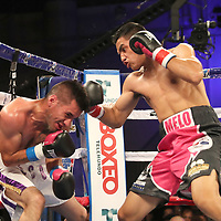 Jonathan Lecona (L) fights Melvin Lopez during a Telemundo boxing match at Osceola Heritage Park on Friday, July 20, 2018 in Kissimmee, Florida.  (Alex Menendez via AP)