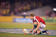 Leigh Halfpenny (Lions) sets up to take a penalty kick during the second test between the DHL Australian Wallabies vs HSBC British And Irish Lions at Etihad Stadium, Melbourne, Victoria, Australia. 29/06/0213. Photo By Lucas Wroe