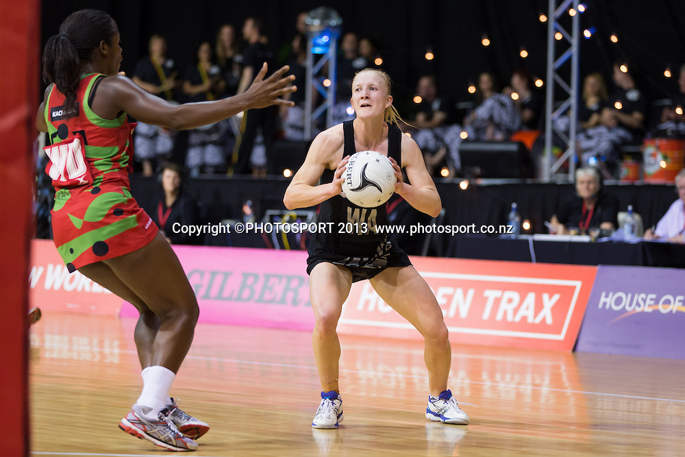 Silver Ferns WA Shannon Francois and Malawi Queens WD Melenia Gideon during the New World Netball Series - Silver Ferns v Malawi, won by NZ 72-39 at Claudelands Arena, Hamilton, New Zealand, Thursday 31 October 2013. Photo: Stephen Barker/Photosport.co.nz