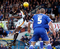 Photo: Alan Crowhurst.<br />Cardiff City v Hull FC. Coca Cola Championship. 18/02/2006. <br />Leon Court (L) heads at goal for Hull.