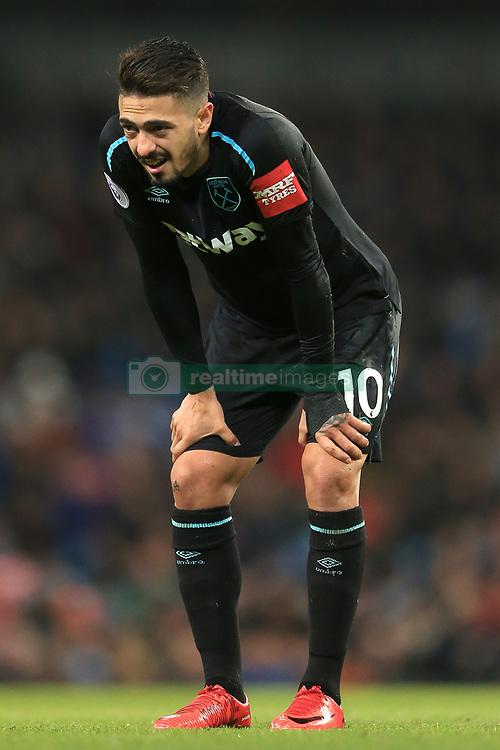 3rd December 2017 - Premier League - Manchester City v West Ham United - Manuel Lanzini of West Ham looks dejected - Photo: Simon Stacpoole / Offside.