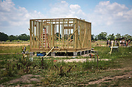 Structure being buitl at the  L'eau est la vie camp in Rayne Louisiana set up during the fight against the Bayou Bridge Pipeline.