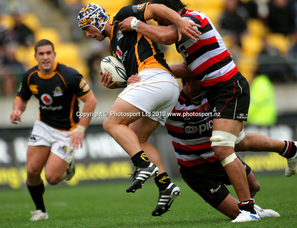Wellington's Charlie Ngatai looks for support in the tackle. ITM Cup - Wellington Lions v Counties-Manukau Steelers at Westpac Stadium, Wellington, New Zealand on Sunday, 8 August 2010. Photo: Dave Lintott/PHOTOSPORT