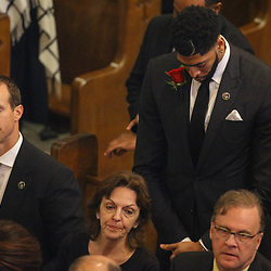 New Orleans Saints quarterback Drew Brees and New Orleans Pelicans forward Anthony Davis at the funeral service for NFL New Orleans Saints owner and NBA New Orleans Pelicans owner Tom Benson in New Orleans, Friday, March 23, 2018. Benson died last Thursday at the age of 90. (AP Photo/Derick Hingle)