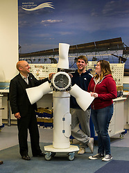 Pictured: The finer details of the wind turbine were outlined by students William Ferguson and Chelbie McMahon to Patrick Harvie<br /> <br /> As part of the final few days of the election campain Greens Co-convenors Patrick Harvieand Maggie Chapman along with local candidate Mark Ruskell met a wind turbine class at Fife College. Students are studying City and Guilds qualifications in wind turbine technology as the colleage strive to become a centre of excellence in wind turbine technology.<br /> <br /> Ger Harley | EEm 29 April 2016