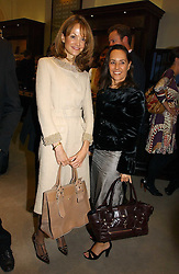 Left to right, CAROLINE CHAMBERLEN and SARAH MANLEY at a party to celebrate the 10th anniversary of the Smythson Fashion Diary and to the launch of the 2007 Limited Edition held at Smythson, New Bond Street, London on 25th October 2006.<br />