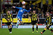 Peterborough United midfielder Erhun Oztumer heads the ball on during the The FA Cup match between Burton Albion and Peterborough United at the Pirelli Stadium, Burton upon Trent, England on 7 November 2015. Photo by Aaron Lupton.