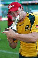 Twickenham, London - Sunday 23rd May 2010: James Stannard of Australia shows off the trophy for winning the final 19-14 against South Africa in the Emirates London Sevens rugby tournament at Twickenham Stadium, London, UK. (Pic by Andrew Tobin/Focus Images)