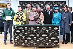 Paul Townend, trainer Willie Peter Mullins, owner J Donnelly and The Princess Royal during the presentation after the Magners Cheltenham Gold Cup Chase during Gold Cup Day of the 2019 Cheltenham Festival at Cheltenham Racecourse.