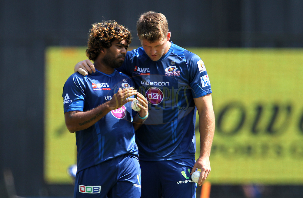 Lasith Malinga of the Mumbai Indians  and Corey Anderson of the Mumbai Indians during the practise session of the match 22 of the Pepsi Indian Premier League Season 2014 between the Mumbai Indians and the Kings XI Punjab held at the Wankhede Cricket Stadium, Mumbai, India on the 3rd May  2014<br /> <br /> Photo by Vipin Pawar / IPL / SPORTZPICS<br /> <br /> <br /> <br /> Image use subject to terms and conditions which can be found here:  http://sportzpics.photoshelter.com/gallery/Pepsi-IPL-Image-terms-and-conditions/G00004VW1IVJ.gB0/C0000TScjhBM6ikg