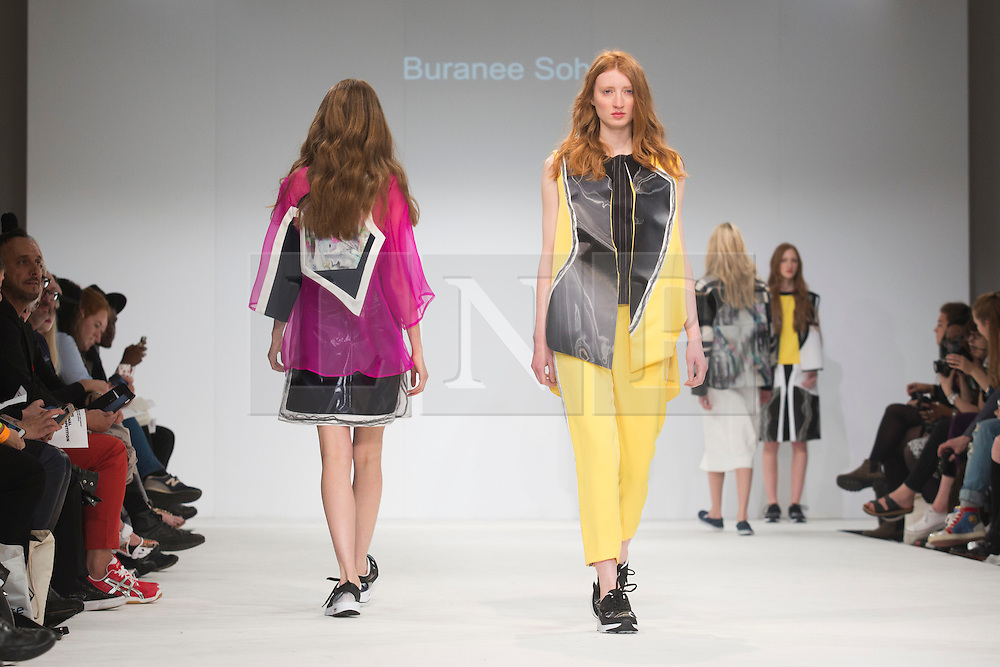 © Licensed to London News Pictures. 02/06/2015. London, UK. Collection by Buranee Soh of FIT Milan. Samsonite International Catwalk Competition takes place during Graduate Fashion Week 2015. Graduate Fashion Week takes place from 30 May to 2 June 2015 at the Old Truman Brewery, Brick Lane. Photo credit : Bettina Strenske/LNP