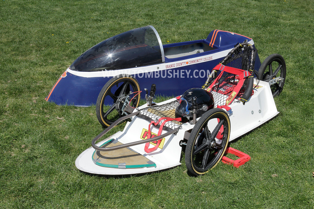 Middletown, New York - A battery powered electric vehicle designed by SUNY Orange students was on display during an Earth Day celebration on the campus green on April 19, 2012. The vehicle has reached 50 miles per hour on a closed track.