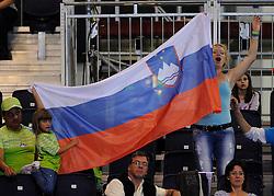 01-09-2012 ZITVOLLEYBAL: PARALYMPISCHE SPELEN 2012 USA - SLOVENIE: LONDEN<br />In ExCel South Arena wint USA van Slovenie / Support spectators Slovenia<br />©2012-FotoHoogendoorn.nl