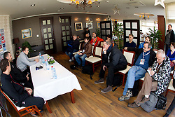 Uros Mohoric, Boris Denic, head coach and player Uros Zorman and journalists during press conference of Slovenia Men Handball team 1st day of 10th EHF European Handball Championship Serbia 2012, on January 15, 2012 in Hotel Srbija, Vrsac, Serbia.  (Photo By Vid Ponikvar / Sportida.com)