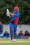 Afghan cricketer Hashmatullah Shaidi at bat during the One Day International match between Scotland and Afghanistan at The Grange Cricket Club, Edinburgh, Scotland on 10 May 2019.