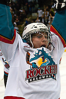 KELOWNA, CANADA - APRIL 19: Riley Stadel #3 of the Kelowna Rockets celebrates a goal against the Portland Winterhawks on April 18, 2014 during Game 2 of the third round of WHL Playoffs at Prospera Place in Kelowna, British Columbia, Canada.   (Photo by Marissa Baecker/Shoot the Breeze)  *** Local Caption *** Riley Stadel;