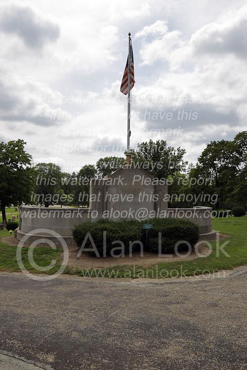 31 August 2017:   Veterans graves in Park Hill Cemetery in eastern McLean County.<br /> <br /> American Legion Veterans Memorial
