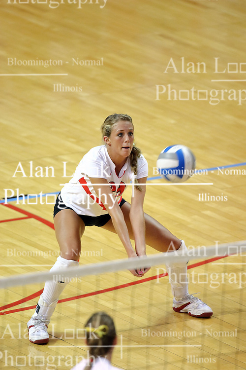 11 September 2007:  Mallory Leggett sets up to receive the ball. Ohio State Buckeyes bested the Illinois State Redbirds 3 games to 1 at Redbird Arena on the campus of Illinois State University in Normal Illinois.