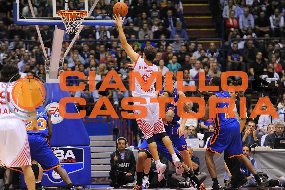 DESCRIZIONE : Milano NBA EUROPE LIVE TOUR 2010 Armani Jeans Milano New York Knicks<br /> GIOCATORE : Stefano Mancinelli<br /> SQUADRA : Armani Jeans Milano<br /> EVENTO : NBA EUROPE LIVE TOUR 2010 Armani Jeans Milano New York Knicks<br /> GARA : Armani Jeans Milano New York Knicks<br /> DATA : 03/10/2010<br /> CATEGORIA : Tiro<br /> SPORT : Pallacanestro<br /> AUTORE : Agenzia Ciamillo-Castoria/A.Dealberto<br /> GALLERIA : NBA EUROPE LIVE TOUR 2010<br /> FOTONOTIZIA : NBA EUROPE LIVE TOUR 2010  Armani Jeans Milano New York Knicks<br /> PREDEFINITA :