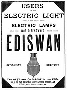 Advertisement for Ediswan incandescent light bulbs, 1898.  The Ediswan brand was the result of a merging of the interests of the two pioneers of electric light bulbs, the American Thomas Alva Edison (1847-1931) and the Englishman Joseph Wilson Swan (1828-1914). From 'The Graphic', (London, 8 April 1898). Engraving
