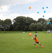 Balloons released at end of Dundee v Dundee United fans charity derby at Thomson Park, Lochee in aid Cancer Research UK<br /> <br />  - &copy; David Young - www.davidyoungphoto.co.uk - email: davidyoungphoto@gmail.com