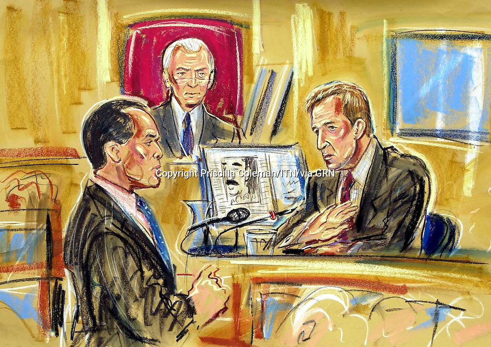 ©PRISCILLA COLEMAN ITV NEWS 19.08.03.SUPPLIED BY: PHOTONEWS SERVICE LTD OLD BAILEY.PIC SHOWS: ALASTAIR CAMPBELL, BEING QUESTIONED BY JAMES DINGEMAN Q.C, AT THE HIGH COURT TODAY. WHERE ALASTAIR CAMPBELL IS GIVING EVIDENCE IN THE INQUIRY INTO THE DEATH OF DR DAVID KELLY-SEE STORY.ILLUSTRATION: PRISCILLA COLEMAN ITV NEWS