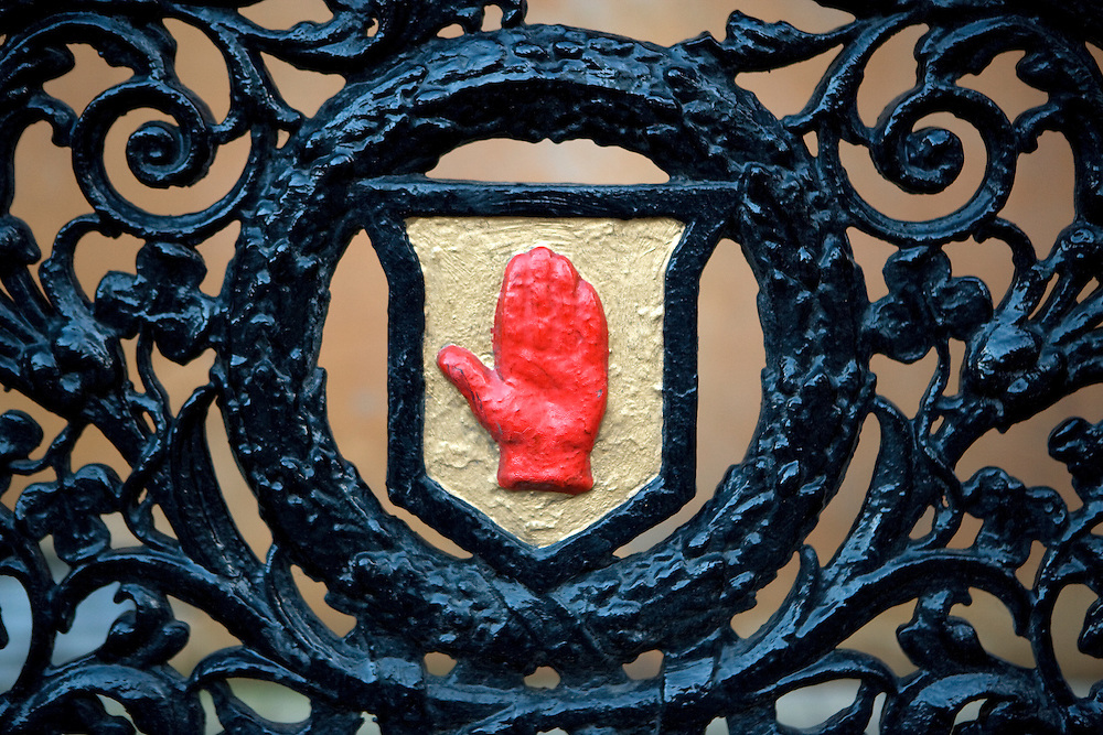 Red hand of Ulster on a gate, Belfast, Northern Ireland, UK