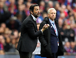 Watford Manager Quique Flores gestures to his players as Crystal Palace Manager Alan Pardew watches on - Mandatory by-line: Robbie Stephenson/JMP - 24/04/2016 - FOOTBALL - Wembley Stadium - London, England - Crystal Palace v Watford - The Emirates FA Cup Semi-Final