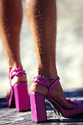 bondi Beach; drag queen; drag races; man in high heels; photo by paul green; pink; vanessa wagner