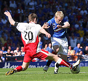 Darren Barr tackles Steven Naismith during the Falkirk v Rangers Homecoming Scottish FA Cup Final between Falkirk and Rangers at Hampden Park (picture by David Young - 07765 252616)