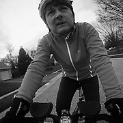 12/16/11 Wilmington DE: Triathlete Patti Tillotson (56) riding her bike Saturday Dec. 17, 2011 in Limestone Hills in Wilmington Delaware.<br /> <br /> Special to The News Journal/SAQUAN STIMPSON<br /> <br /> <br /> Finding the triathlete within:<br /> http://www.delawareonline.com/article/20120103/HEALTH/201030308/Finding-triathlete-within