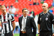 Grimsby Town manager Paul Hurst during the FA Trophy match between Grimsby Town FC and Halifax Town at Wembley Stadium, London, England on 22 May 2016. Photo by Mike Sheridan.