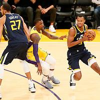 10 October 2017: Utah Jazz guard Rodney Hood (5) drives past Los Angeles Lakers guard Kentavious Caldwell-Pope (1) on a screen set by Utah Jazz center Rudy Gobert (27) during the Utah Jazz 105-99 victory over the LA Lakers, at the Staples Center, Los Angeles, California, USA.