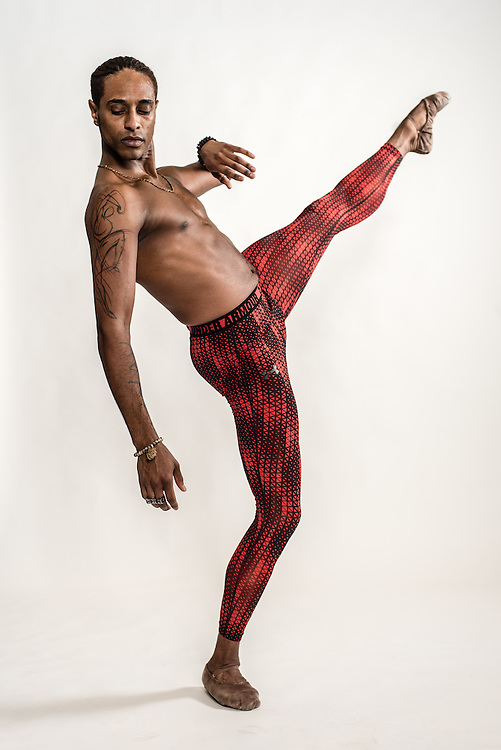 WASHINGTON, DC -- OCTOBER 28: Anthony Spaulding, a dancer from the San Francisco Ballet, shows off his tattoos…. (photo by Andre Chung for The Washington Post)