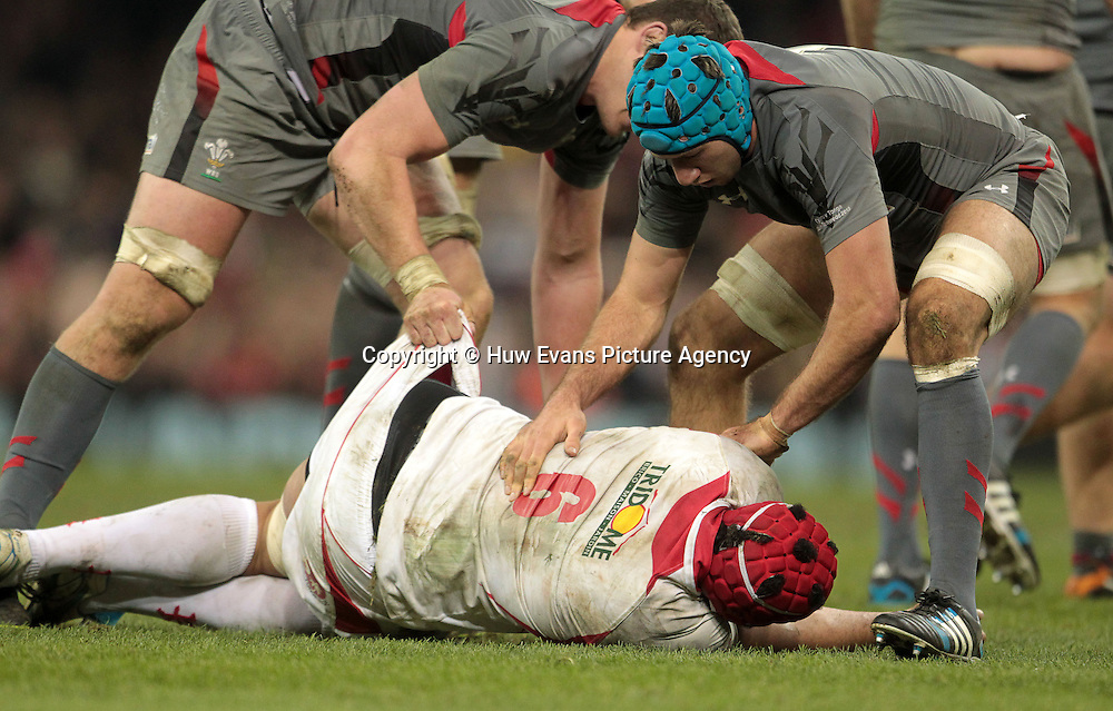 22.11.13 - Wales v Tonga - Dove Men Series 2013 - Ian Evans of Wales and Justin Tipuric of Wales put Sione Kalamafoni of Tonga in the recovery position <br /> <br /> &copy; Huw Evans Picture Agency