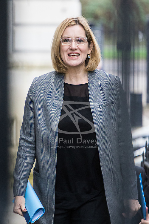Downing Street, London, February 28th 2017. Home Secretary Amber Rudd attends the weekly cabinet meeting at 10 Downing Street in London.