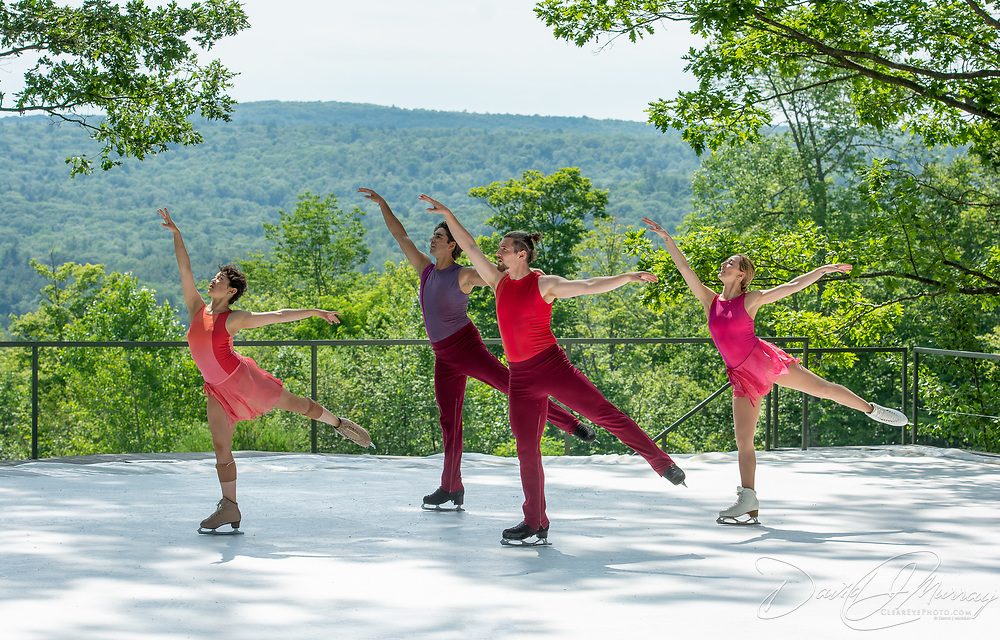 Liz Schmidt, Alper Ucar, Matej Silecky, and Sinead Kerr of Ice Dance International perform on the outdoor stage at Jacobs Pillow, July 2019